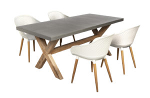 Beach7 Diningset Tuin Antibes 5-delig Wit