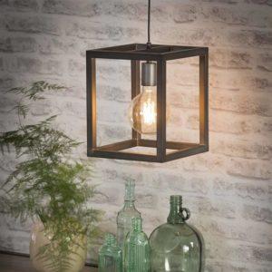 Hanglamp vierkante buis 25 x 25 cm zilver