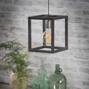 Hanglamp vierkante buis 25 x 25 cm zilver detail