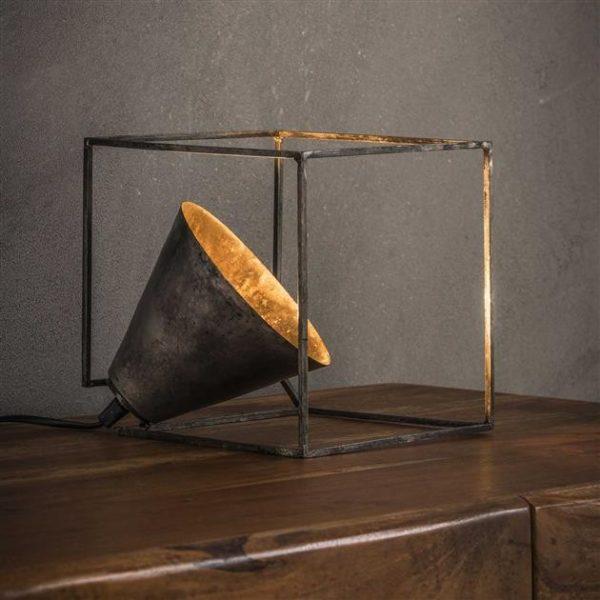 Industry kubus tafellamp oud zilver