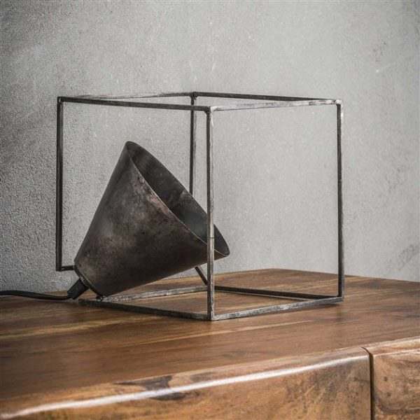 Industry kubus tafellamp oud zilver detail