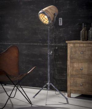 Iron vloerlamp houten kap XL