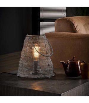 Mesh tafellamp 26 cm met handvat grijs