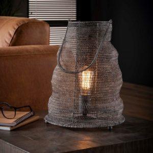 Mesh tafellamp 30 cm met handvat grijs