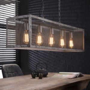 Raster hanglamp 5 lichts oud zilver