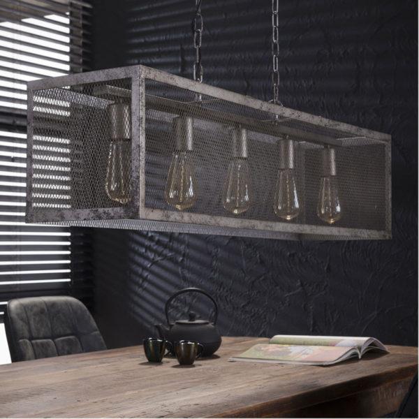Raster hanglamp 5 lichts oud zilver foto