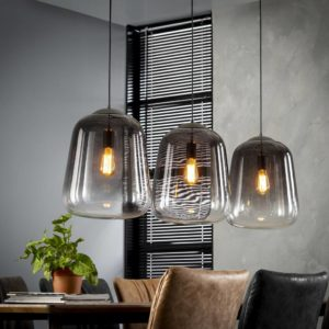 Shaded hanglamp 3 lichts smoked grey