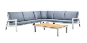Suns Lounge Hoekset Lago 4-Delig Wit Teak