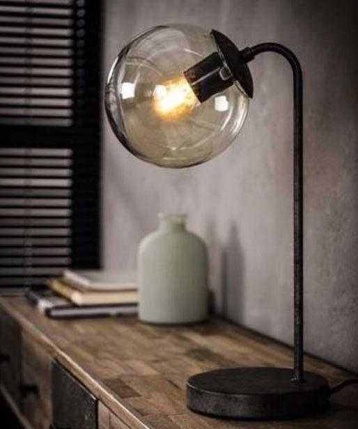 Tafellamp ronde bol oud zilver