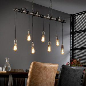 Tube wikkel hanglamp 7 lichts oud zilver