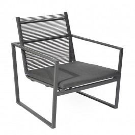 Borek Loungechair Andria Aluminium Rope Dark Grey