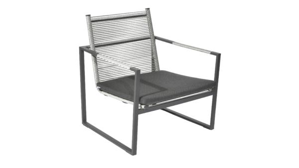 Borek Loungechair Andria Aluminium Rope Iron Grey
