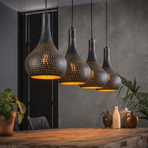 Hanglamp Punch kegel zwart bruin 4 lichts