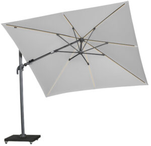 Platinum Zweefparasol Challenger-Marbella Led T2 3x3 Light Grey