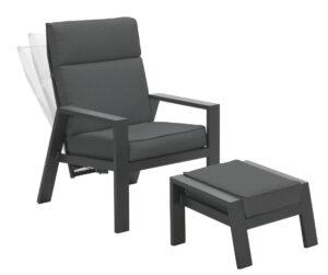 Garden Impressions Verstelbare Loungechair Max + Voetenbank Mystic