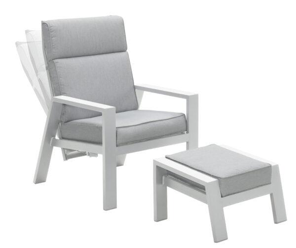 Garden Impressions Verstelbare Loungechair Max + Voetenbank Wit