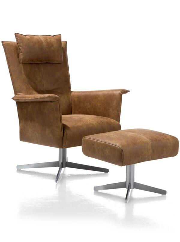 Ik ben snel leverbaar - Carola fauteuil hoge rug Corsica cognac incl hocker en hoofdsteun