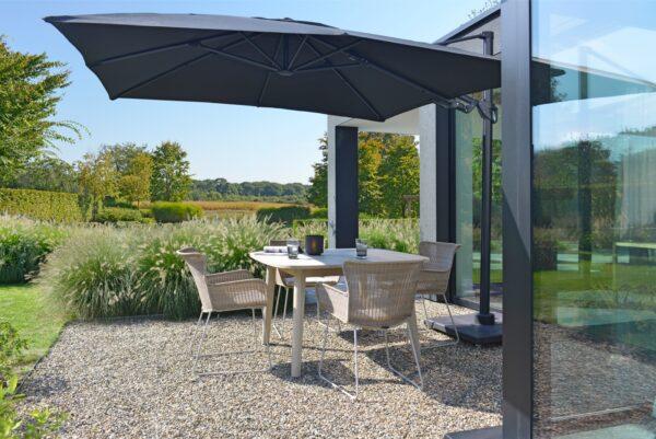 2021 M&L teak Lennon table aged - fibre Iris chair linen - aluminium Logan parasol_preview