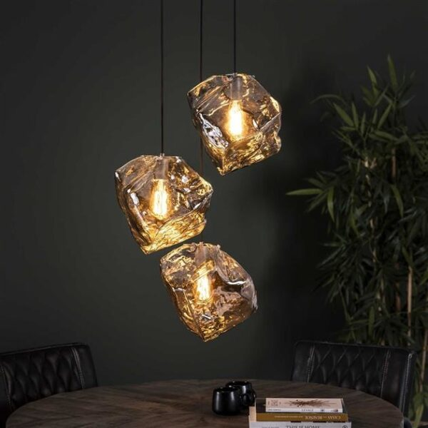 Rock hanglamp chromed 3 lichts getrapt