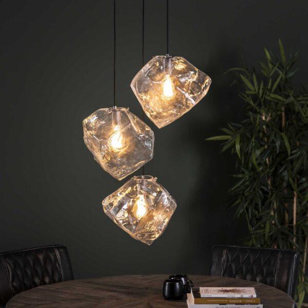 Rock hanglamp clear 3 lichts getrapt