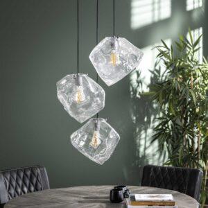 Rock hanglamp clear 3 lichts getrapt uit