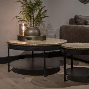 UrbanSofa Andalusie gold salontafel 90 cm met onderblad