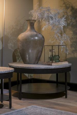 UrbanSofa Andalusie zilver salontafel 90 cm met onderblad