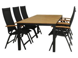 Diningset Arashi Tafel 220 cm + Nice standenstoel Zwart Teak