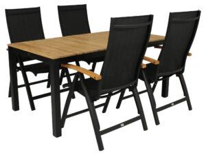 Diningset Arashi tafel 169 cm +Nice-standenstoel Zwart Teak