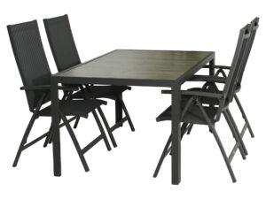 Diningset Bergamo 155 cm +Toulouse standenstoel