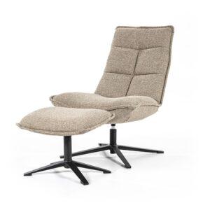 Eleonora Marcus fauteuil met voetenbank stof Baquer beige