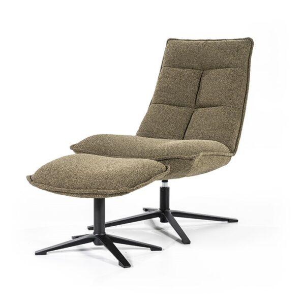 Eleonora Marcus fauteuil met voetenbank stof Baquer groen
