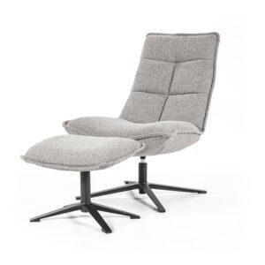 Eleonora Marcus fauteuil met voetenbank stof Baquer licht grijs